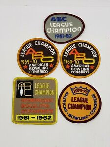 Vintage Bowling League Patch Lot 5 Patches American Congress Champions Retro