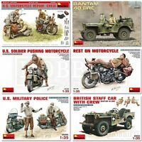 Miniart WW2 Vehicles 1/35 Scale with Figures Jeep Motorcycle Kits