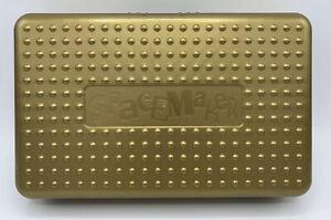 "VINTAGE GOLD SPACEMAKER SCHOOL OFFICE PENCIL PEN BOX CASE GOLD  11"" X 7"" * RARE"
