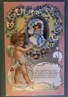 Cupid Hanging Picture Of Lady,Pansy Heart,1909 Antique Valentine Postcard-p449