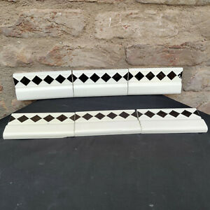 1940s Architecture/Furniture Tile Black & White 6 Pcs Majolica Art Nouveau,Japan