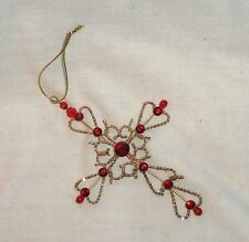 """cross Christmas ornament gold colored metal red rhinestones 5 1/4"""" tall"""