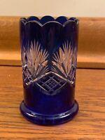 "Vintage Cut-to-Clear Cobalt Blue Glass Vase 3"" x 4.75"""