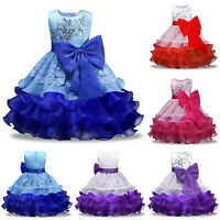 Kids Girl Bow Princess Dress Party Wedding Bridesmaid Gown Prom Flower Dresses