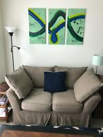 ACRYLIC, ENAMEL ON CANVAS - Triptych Original Painting - ABSTRACT WAVE