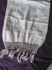 Unused Italian Linen Show bath Towel Vintage 50 th Floral New Fringe Ivory