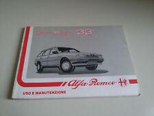 ALFA ROMEO SPORT WAGON 33 Manuale USO MANUTENZIONE Libretto 1988 - OWNERS MANUAL