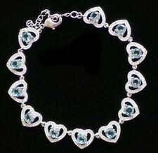 Sky Blue Topaz Heart Sterling Bracelet