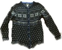 LL BEAN Vintage Nordic Wool Sweater Cardigan Snowflake Fair Isle L Large