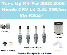 Tune Up Kit for 2002-2006 Honda CRV Spark Plug, Oil Filter, Cabin Filter, Oil Dr