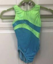 Gk Elite Blue Green Velvet Velour Star Gymnastics Bodysuit Size Children's Large