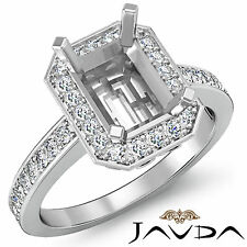 Diamond Engagement Ring Radiant Semi Mount 18k White Gold Halo Settings 0.35Ct