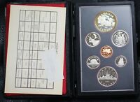 1981 Canada Proof Set, 7 Gem Coins, in Leather Case, Double Dollar Set