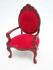 Chair - ARMCHAIR Mirror-back red dollhouse miniatures wood T3593 1/12 scale
