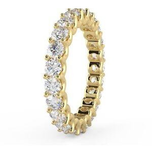 UK Hallmarked Yellow Gold 1.10 Carat Round Diamond U Prong Full Eternity Ring