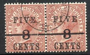 HONDURAS USED 1891 SG49/49a 5c on 3c on 3d Red-Brown Wide Space Between I and V