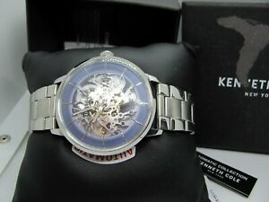 *BRAND NEW* Kenneth Cole Men's Automatic Blue Dial Silver Tone Watch KC50858001