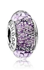 Authentic Pandora DARK PURPLE SHIMMER 791663 Murano Glass Bead Charm NEW