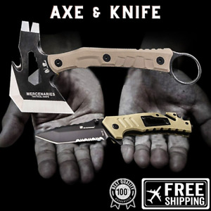 New 2 in 1 Folding Knife Tactical Axe Set Steel G10 Multifunctional Outdoor Tool