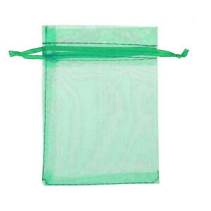 10pcs Drawstring Organza Bags Jewelry Pouches Wedding Party Gift Bag Green