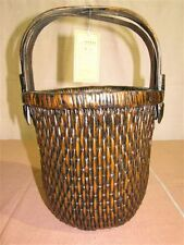 "17"" Triple-Handled Chinese Woven Fishing Basket w. Certificate Made of Willow"