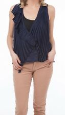 Bird By Juicy Couture Biscay Navy Brooke Pleated Top Blouse Size Small NWT $251
