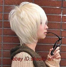 Mode beau , blonde court ,bonne santé Hommes / garçons cosplay cheveux Perruques