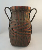 Antique Japanese Woven Bamboo Ikebana Flower Arranging Basket Vase Japan