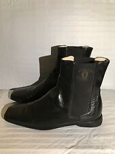 CHANEL Black Leather Classic CC Logo Slip On Ankle Mid Boots US 7.5-8