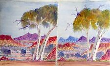 Aboriginal Painting Water Colour Australian Dot Art Uluru Central Dessert Dingo