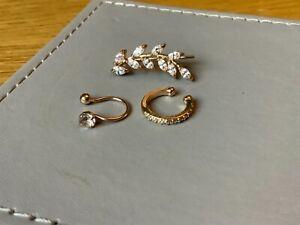Lovely Rose-Gold Colour  Set of 2 Fake Nose Rings & 1 Earring..Brand New