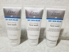 3 Lot Dove Derma Series Dry Skin Relief Gentle Cleansing Face Wash 1.7 oz each