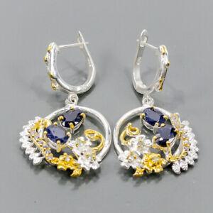 Handmade Earrings Blue Sapphire Earrings Silver 925 Sterling   /E55789