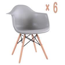 6xgrau Chaise de salle à manger rétro ABS PP tissu Fauteuil cuisine bureau