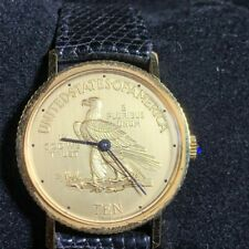 Vintage USA Gold Eagle Coin Winding Black Leather COLLECTOR Swiss 17Jewel Watch