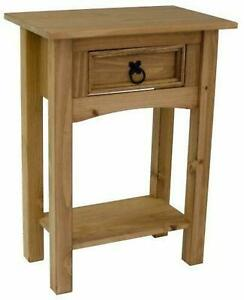 Table Solid Wood with 1 Drawer Dressing Hall Lamp Letter Entry Way Wax Brand New