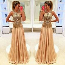 2016 Gold Beading Formal Evening Party Dress Custom Made Pageant Prom Long Gowns