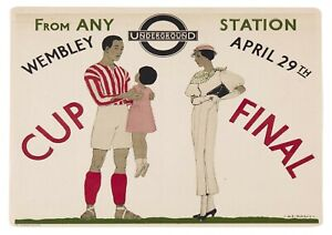 """Reproduction Vintage """"Wembley Cup Final"""" London Underground Poster"""