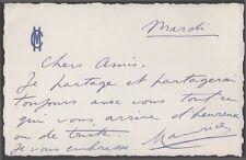 Maurice Chevalier. L.a.s. adressée à Marcel Vallée. Vers 1950