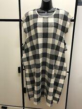 Kapital S Round Neck Long Tent Dress Cotton Hemp Charcoal Combo Check