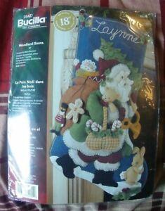 "NOS Bucilla Christmas Felt Stocking Woodland Santa KIT #85179 18"" Basket Toys NR"