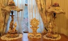 Italian Capodimonte Boy Figurine 2 Table Lamps & Mantel Basket Weave Shades