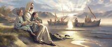 Simon Dewey MEN OF GALILEE 21x48 canvas Jesus Children Boys Men Disciples Boats