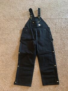 NEW Carhartt Quilt-Lined Bib Overalls R41 46x30 Double Knee Black Duck Canvas