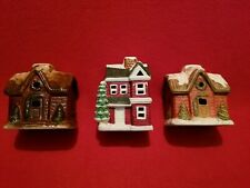 Lot Of 3 Christmas Cottage Hand Painted Candle Holders