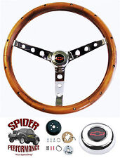"1969-1981 Camaro steering wheel CHROME WALNUT 15"" Grant steering wheel kit"