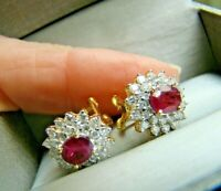 2Ct Excellent Oval Cut Red Ruby Halo Stud Earrings 14k Yellow Gold Finish