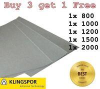WET AND DRY SANDPAPER KLINGSPOR Assorted grit 800 1000 1200 1500 2000 PACK OF 5