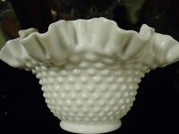 Vintage Milk Glass Fenton Bowl Hobnail Ruffled Double Crimmed