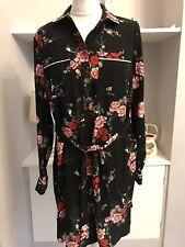 H&M Black Flower Print Chiffon Shirt Dress Size 10